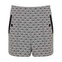 Buy Miss Selfridge Button Detail Shorts, Black / White Online at johnlewis.com