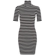 Buy Miss Selfridge Petite Stripe Rollneck Dress, Black Online at johnlewis.com
