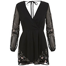 Buy Miss Selfridge Embellished Playsuit, Black Online at johnlewis.com