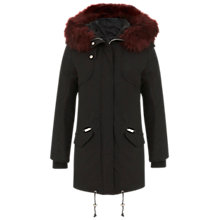 Buy Miss Selfridge Faux Fur Parka Coat, Black Online at johnlewis.com