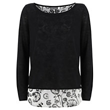 Buy Mint Velvet Anna Print Linen Top, Navy Online at johnlewis.com