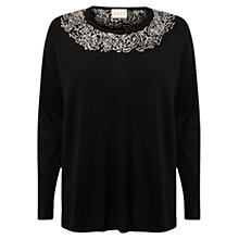 Buy East Rose Embroidered Jumper, Black Online at johnlewis.com