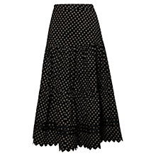 Buy East Emi Babycord Print Skirt, Black Online at johnlewis.com