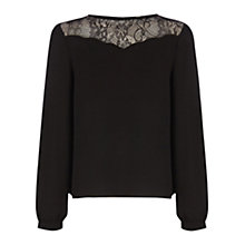Buy Oasis Scallop Lace Yoke Top, Black Online at johnlewis.com