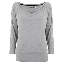 Buy Hygge by Mint Velvet Sequin Detail T-Shirt, Grey Online at johnlewis.com