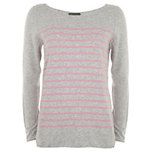 Buy Mint Velvet Candy Stripe Jumper, Grey/Pink Online at johnlewis.com