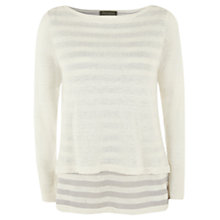 Buy Mint Velvet Stripe Double Layer Jumper, Ivory/Grey Online at johnlewis.com