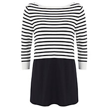 Buy Mint Velvet Stripe Crop Woven Hem Jumper, Ivory / Navy Online at johnlewis.com