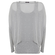 Buy Mint Velvet Stud Double Layer Top, Dove Online at johnlewis.com