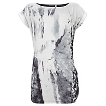 Buy Mint Velvet Noa Print Side Ruched Top, Grey Online at johnlewis.com