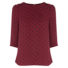 Buy Oasis Heart Print Three-Quarter Sleeve Top, Red Online at johnlewis.com