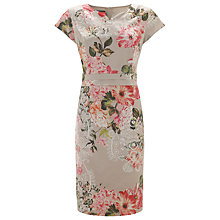 Buy Gerry Weber Floral Print Satin Dress, Beige Online at johnlewis.com