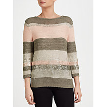 Buy Gerry Weber Stripe Ribbon Knit, Khaki Online at johnlewis.com