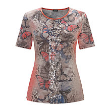 Buy Gerry Weber Sequin Butterfly T-Shirt, Red Online at johnlewis.com