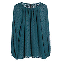 Buy Mango Polka Dot Textured Blouse, Dark Green Online at johnlewis.com