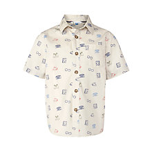 Buy John Lewis Boy Illustration Print Short Sleeve Shirt, Cream/Multi Online at johnlewis.com