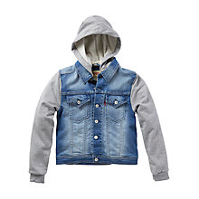 Buy Levi's Boys' Jersey Contrast Denim Jacket, Blue/Grey Online at johnlewis.com
