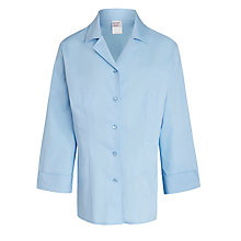 Buy John Lewis School Three-Quarter Sleeve Stretch Blouse, Blue Online at johnlewis.com