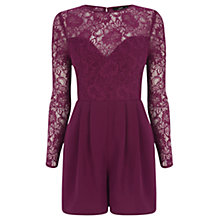Buy Oasis Emma Lace Long Sleeve Playsuit Online at johnlewis.com