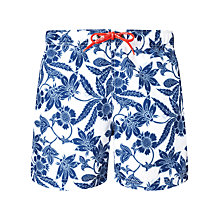 Buy Tommy Hilfiger Audlet Floral Swim Shorts, Classic White/Blue Online at johnlewis.com