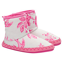 Buy Little Joule Floral Print Slipper Boots, Pink/Cream Online at johnlewis.com