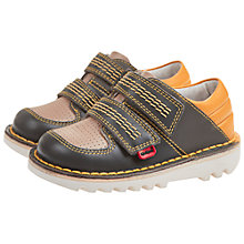 Buy Kickers Childrens' Sneakerise Lo Shoes, Dark Grey/Yellow Online at johnlewis.com