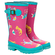 Buy Little Joule Girls' Raining Cats and Dogs Wellingtons, Pink/Multi Online at johnlewis.com