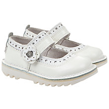Buy Kickers Brogue Bar 3 Shoes, White/Silver Online at johnlewis.com