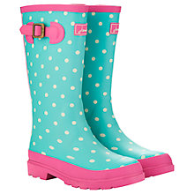 Buy Little Joule Spotty Wellingtons, Aqua/Pink Online at johnlewis.com