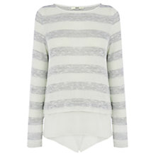 Buy Oasis Lurex Stripe Top, Multi Grey Online at johnlewis.com