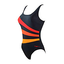 Buy Zoggs Tribal Sandon Scoopback Swimsuit, Black/Red Online at johnlewis.com
