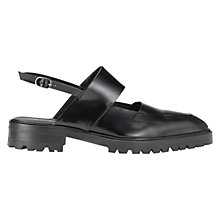 Buy Whistles Ada Chunky Leather Sling Back Shoes, Black Online at johnlewis.com