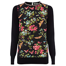 Buy Oasis Embellished Woven Butterfly Jumper, Black Online at johnlewis.com