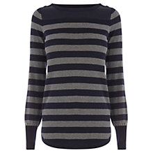 Buy Oasis Faux Leather Block Stripe Top, Multi Grey Online at johnlewis.com