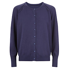 Buy Kaliko Satin Button Cardigan, Blueberry Online at johnlewis.com