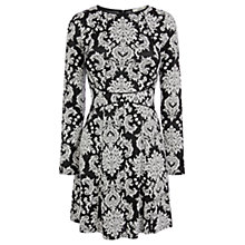 Buy Oasis Paisley Jacquard Skater Dress, Black / White Online at johnlewis.com