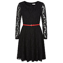 Buy Kaliko Lace Belted Skater Dress, Black Online at johnlewis.com
