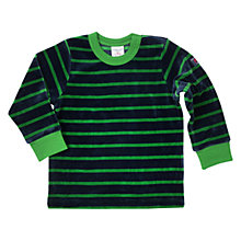 Buy Polarn O. Pyret Velour Stripe Top, Green/Navy Online at johnlewis.com