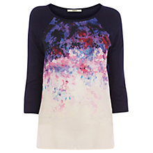 Buy Oasis Floral Placement T-Shirt, Blue/Multi Online at johnlewis.com