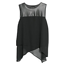 Buy Mango Panel Double Layer Top, Black Online at johnlewis.com