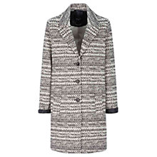 Buy Oui Leather Trim Ikat Coat, Cream/Black Online at johnlewis.com