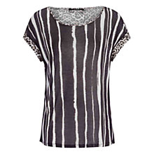 Buy Oui Vertical Stripe Top, Black/White Online at johnlewis.com