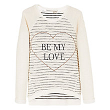 Buy Mango Kids Girls' Textured 'Be My Love' Sweatshirt, White Online at johnlewis.com