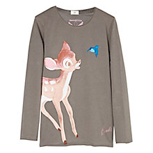 Buy Mango Kids Girls' Bambi Long Sleeve T-Shirt, Grey Online at johnlewis.com