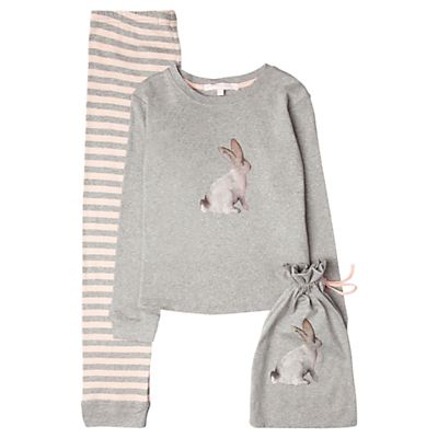 Jigsaw Junior Girls' Bunny Jersey Long Sleeve Pyjamas, Grey/Pink