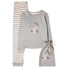Buy Jigsaw Junior Girls' Bunny Jersey Long Sleeve Pyjamas, Grey/Pink Online at johnlewis.com