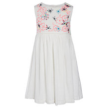 Buy John Lewis Girl Neon Cheesecloth Dress, White Online at johnlewis.com