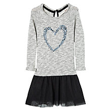 Buy Mango Kids Girls' Sequin Heart 2 in 1 Dress, Grey/Black Online at johnlewis.com