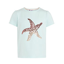 Buy John Lewis Girl Sequin Starfish Motif T-Shirt, Aqua Online at johnlewis.com