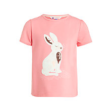 Buy John Lewis Girl Bunny Rabbit Motif T-Shirt, Strawberry Online at johnlewis.com